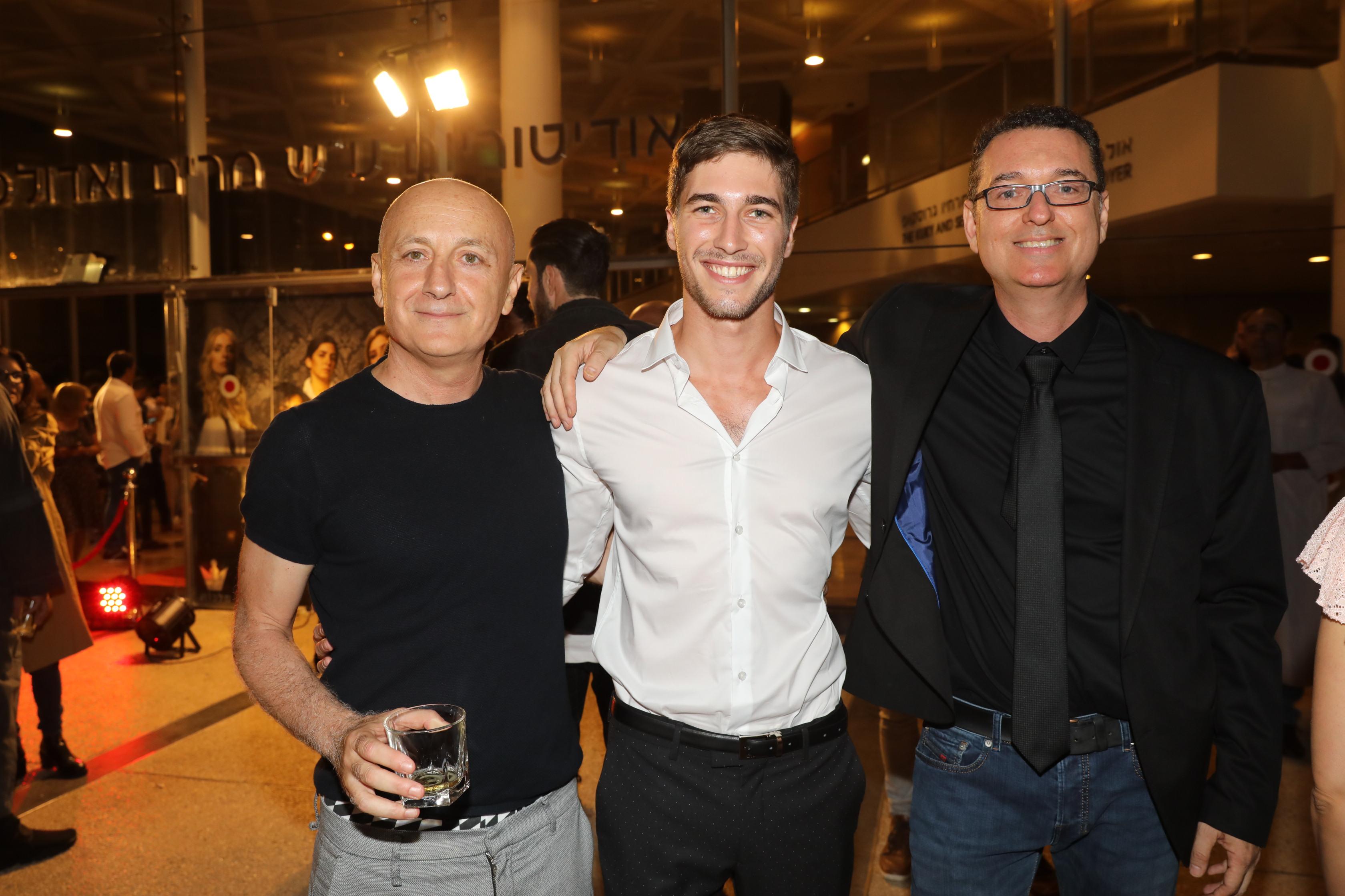 עומר דרור עם הבמאי אמיר מן והתסריטאי גל זייד